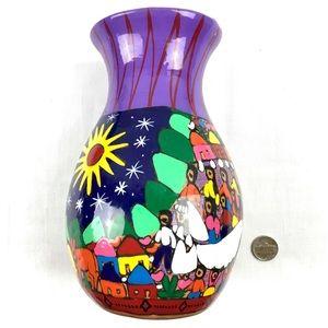 Mexican Folk Art Hand Made Ceramic Vas
